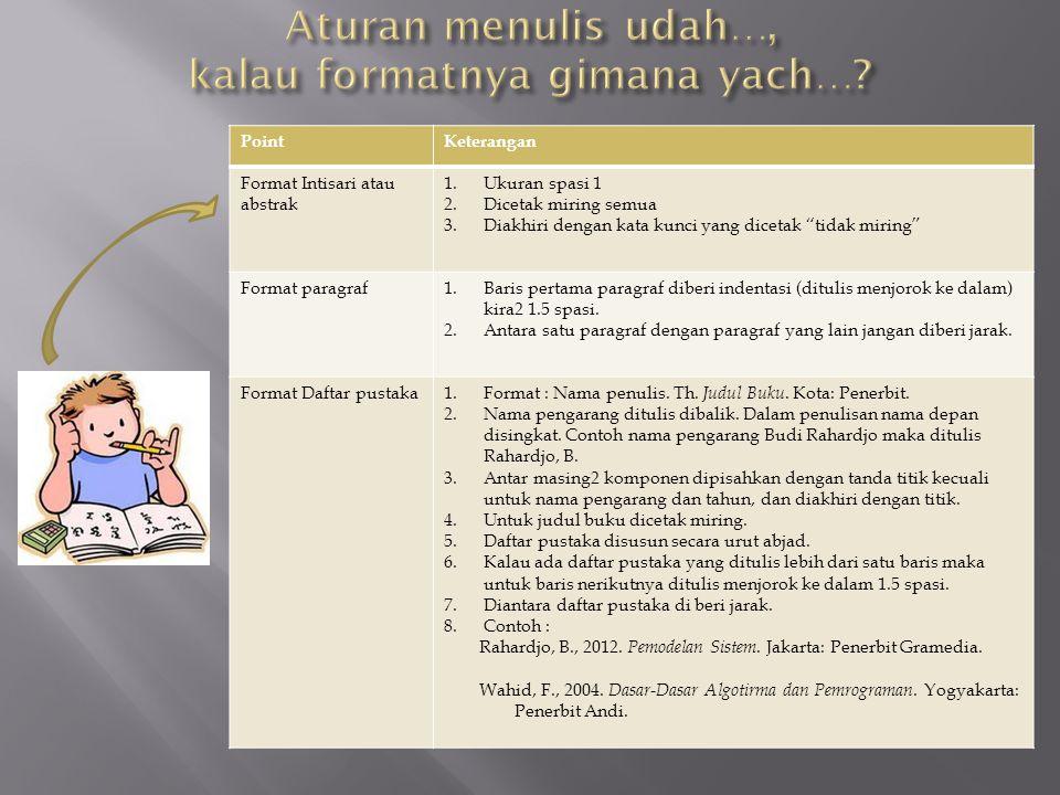 Aturan menulis udah…, kalau formatnya gimana yach…