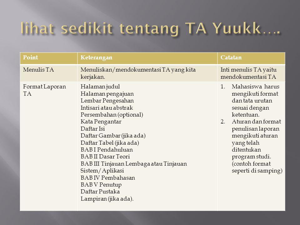 lihat sedikit tentang TA Yuukk….