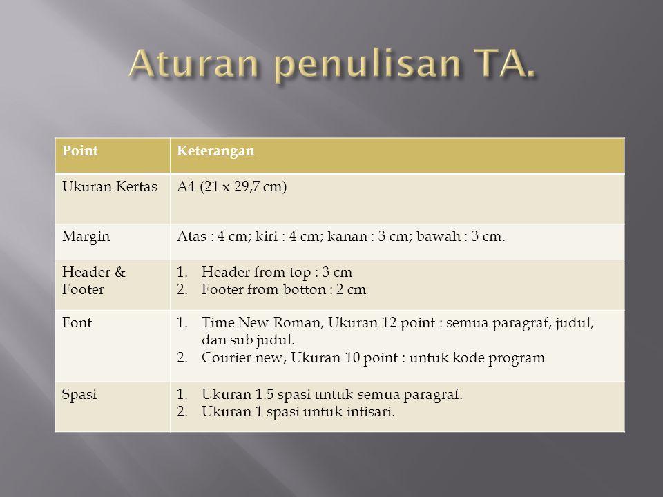 Aturan penulisan TA. Point Keterangan Ukuran Kertas A4 (21 x 29,7 cm)