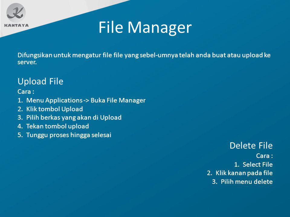 File Manager Upload File Delete File