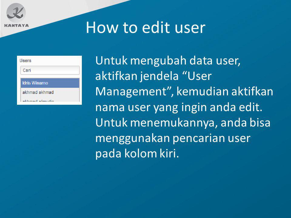 How to edit user