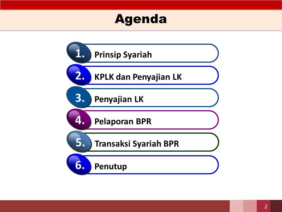 Agenda 1. 2. 3. 4. 5. 6. Prinsip Syariah KPLK dan Penyajian LK