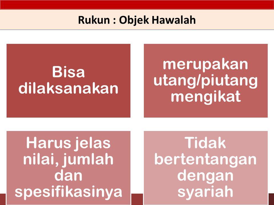 Rukun : Objek Hawalah Bisa dilaksanakan