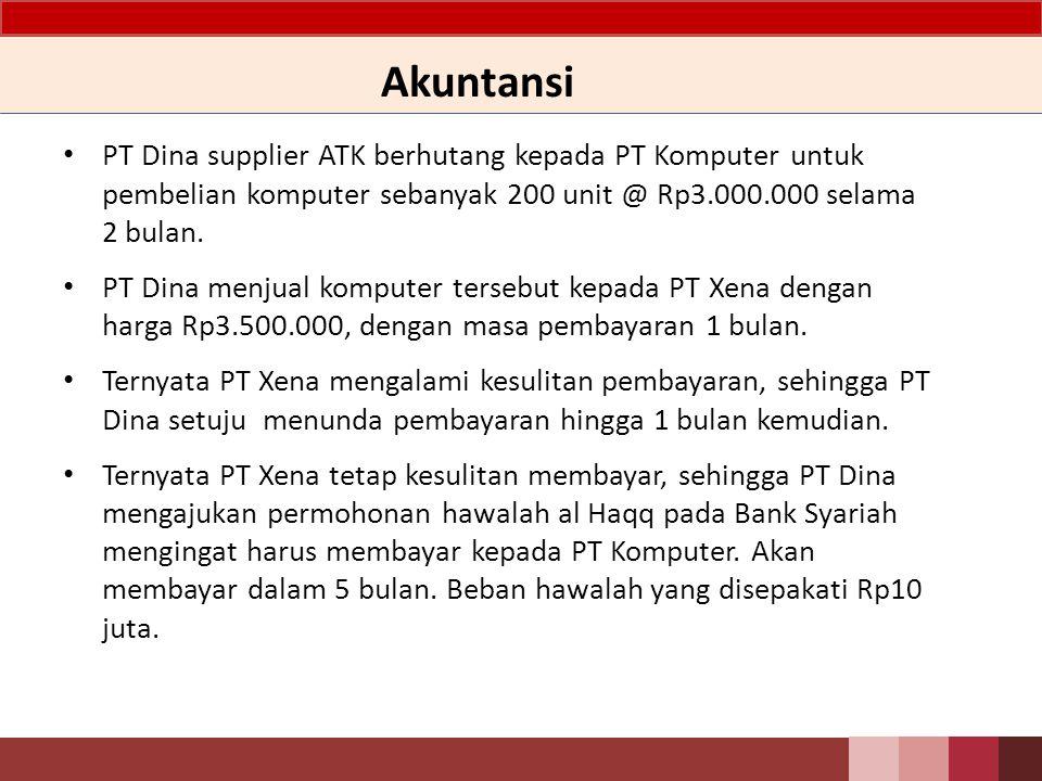 Akuntansi PT Dina supplier ATK berhutang kepada PT Komputer untuk pembelian komputer sebanyak 200 unit @ Rp3.000.000 selama 2 bulan.