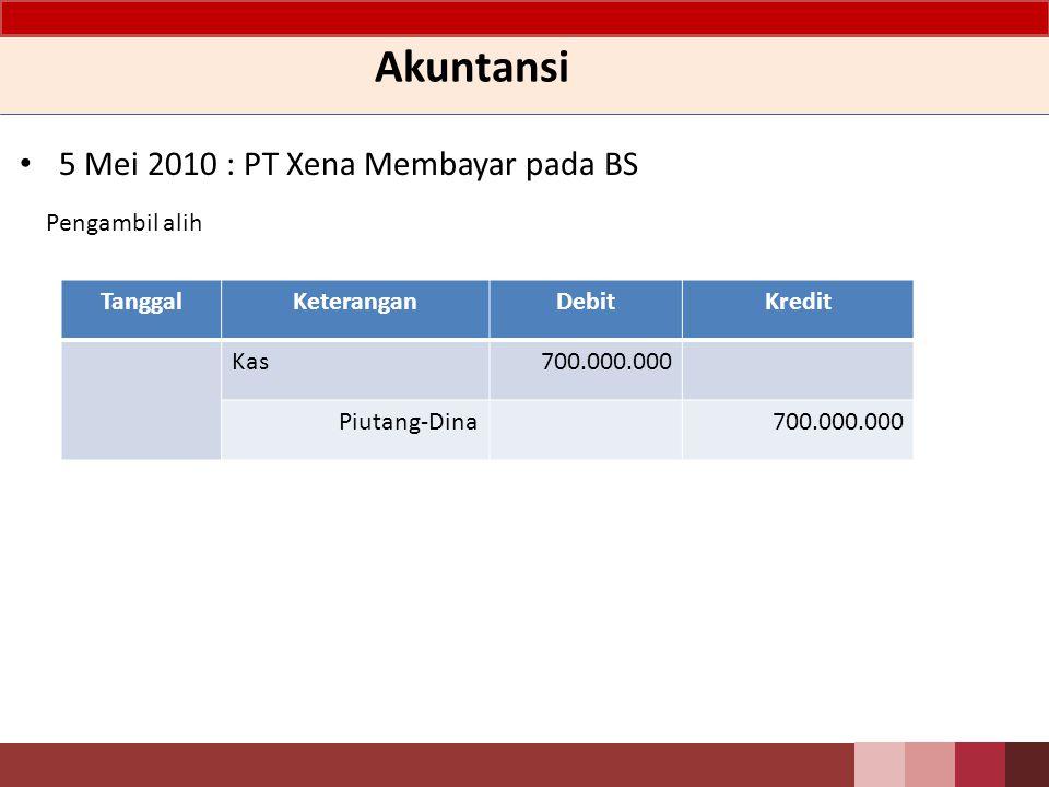 Akuntansi 5 Mei 2010 : PT Xena Membayar pada BS Pengambil alih Tanggal
