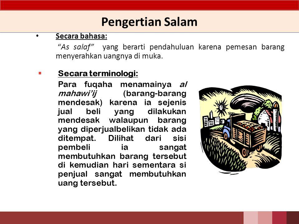 Pengertian Salam Secara bahasa: