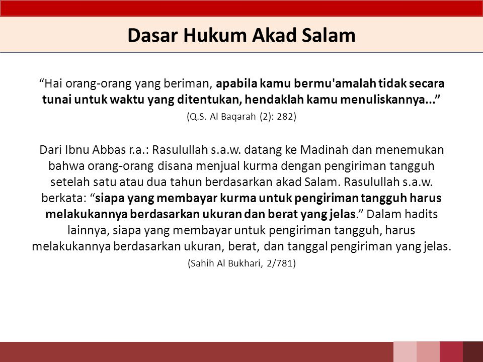 Dasar Hukum Akad Salam