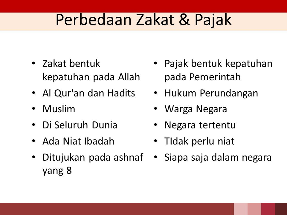 Perbedaan Zakat & Pajak