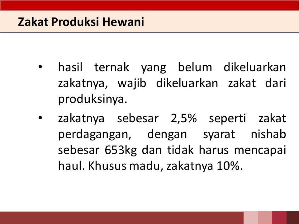Zakat Produksi Hewani hasil ternak yang belum dikeluarkan zakatnya, wajib dikeluarkan zakat dari produksinya.