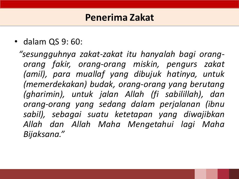 Penerima Zakat dalam QS 9: 60: