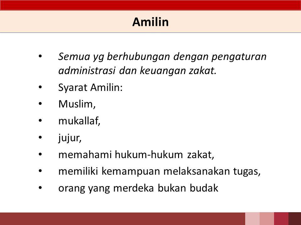 Amilin Semua yg berhubungan dengan pengaturan administrasi dan keuangan zakat. Syarat Amilin: Muslim,