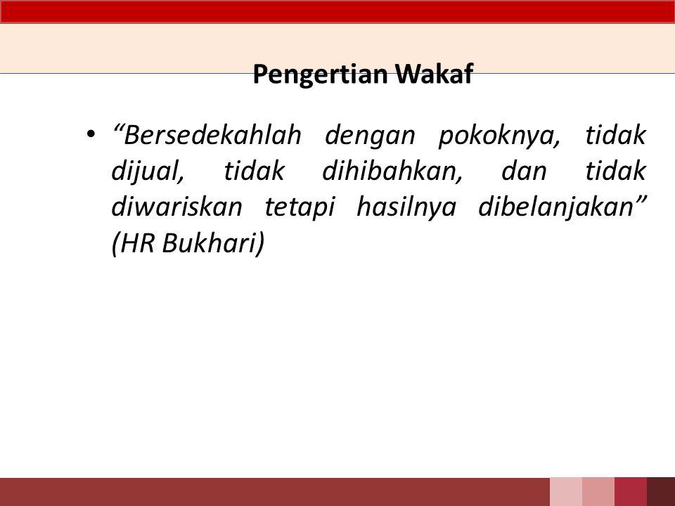 Pengertian Wakaf Bersedekahlah dengan pokoknya, tidak dijual, tidak dihibahkan, dan tidak diwariskan tetapi hasilnya dibelanjakan (HR Bukhari)