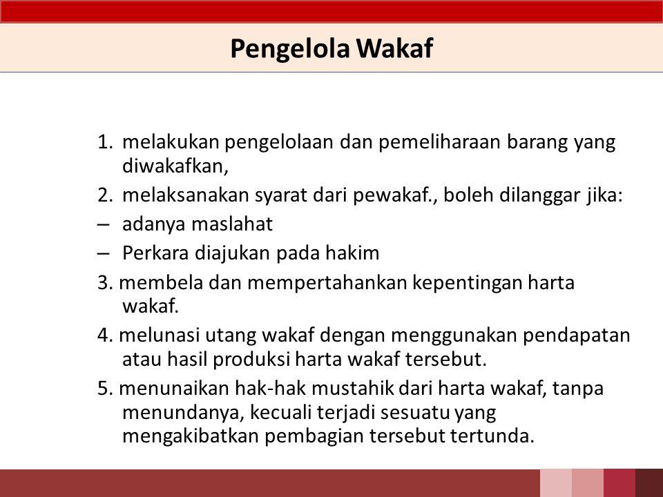 Pengelola Wakaf melakukan pengelolaan dan pemeliharaan barang yang diwakafkan, melaksanakan syarat dari pewakaf., boleh dilanggar jika: