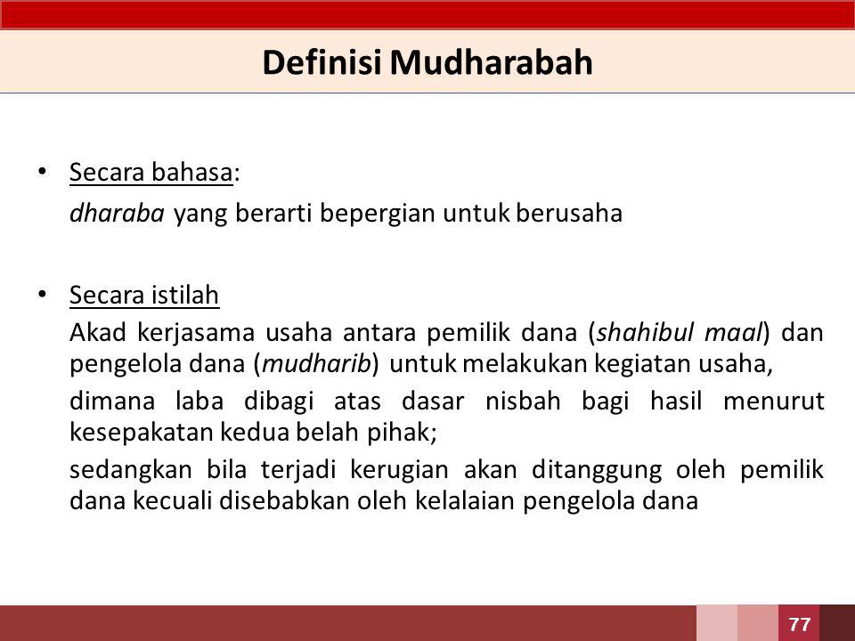 Definisi Mudharabah Secara bahasa: