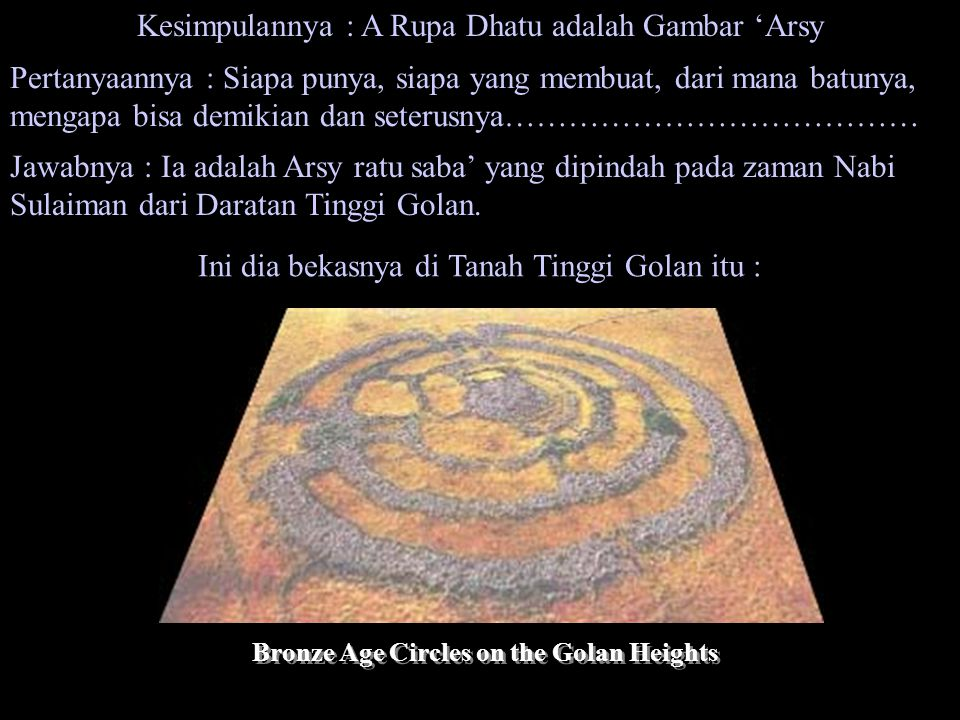 Bronze Age Circles on the Golan Heights
