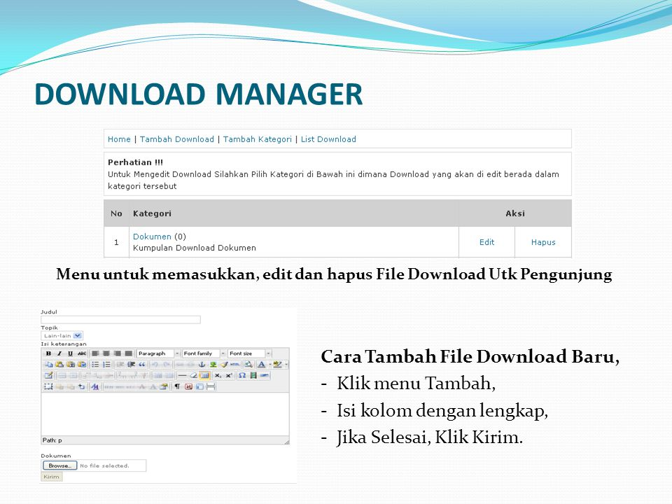 DOWNLOAD MANAGER Cara Tambah File Download Baru, - Klik menu Tambah,