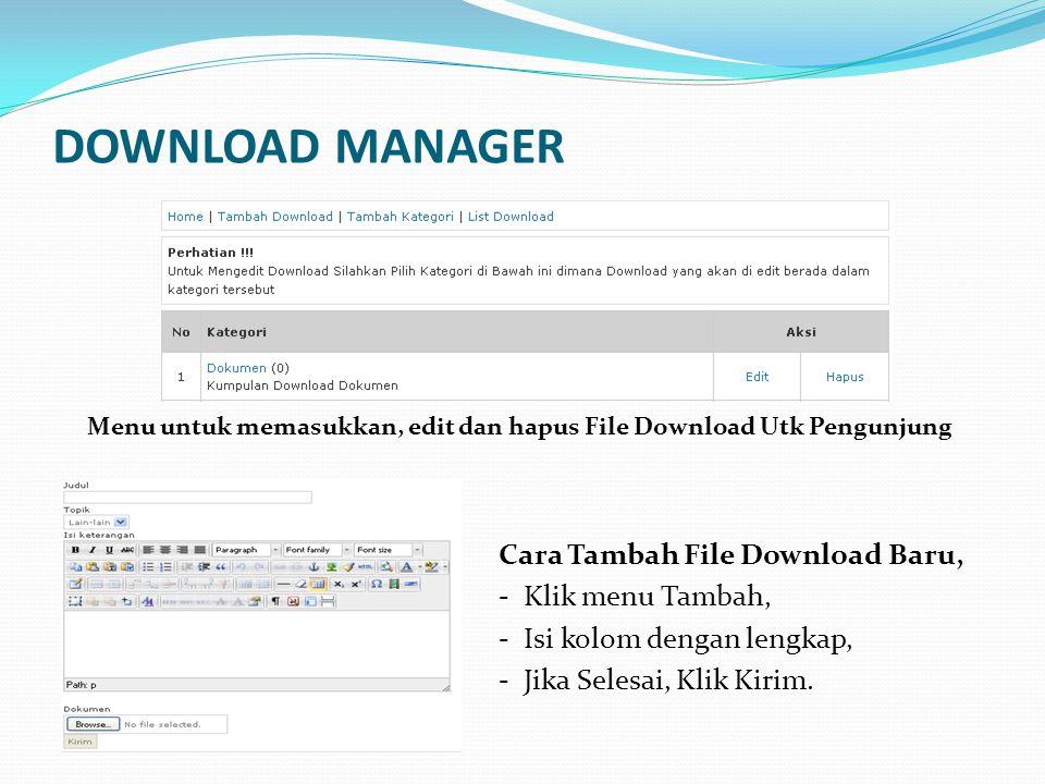 DOWNLOAD MANAGER Cara Tambah File Download Baru, - Klik menu Tambah,
