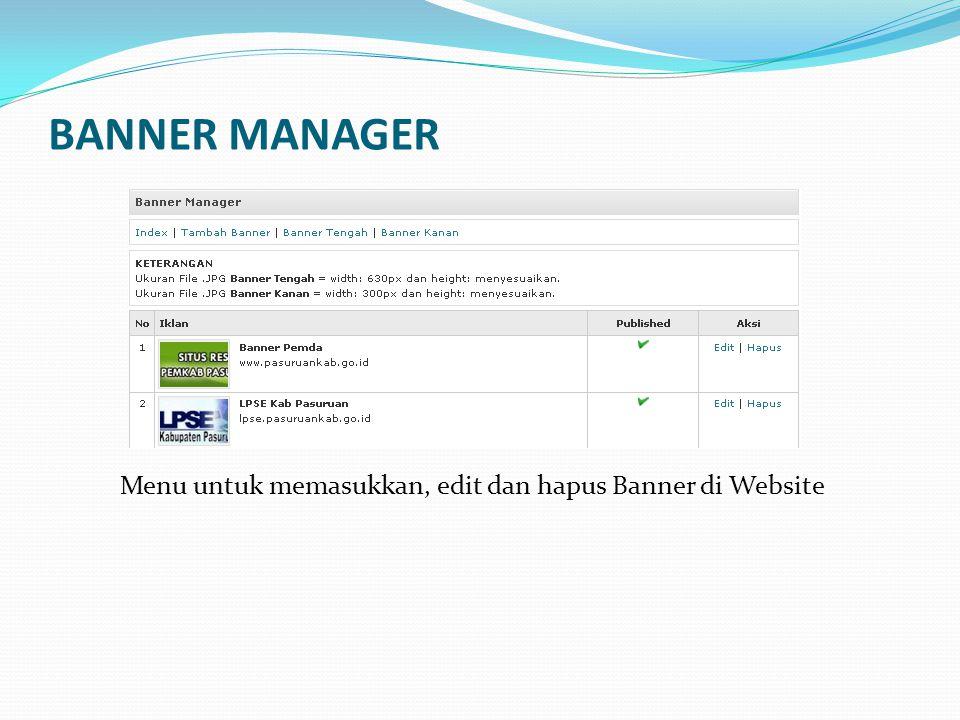 Menu untuk memasukkan, edit dan hapus Banner di Website