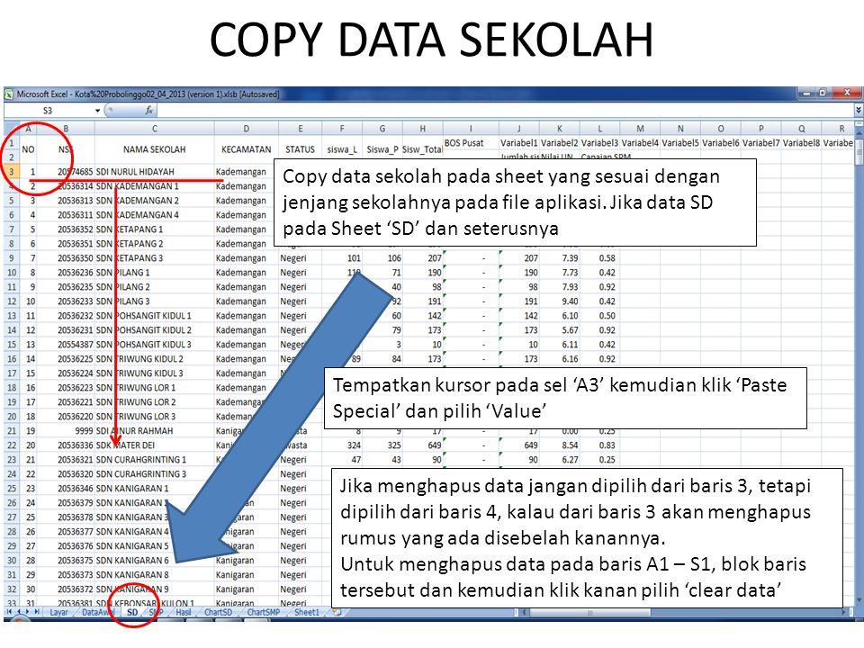 COPY DATA SEKOLAH Copy data sekolah pada sheet yang sesuai dengan jenjang sekolahnya pada file aplikasi. Jika data SD pada Sheet 'SD' dan seterusnya.