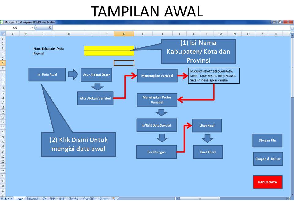 TAMPILAN AWAL (1) Isi Nama Kabupaten/ Kota dan Provinsi