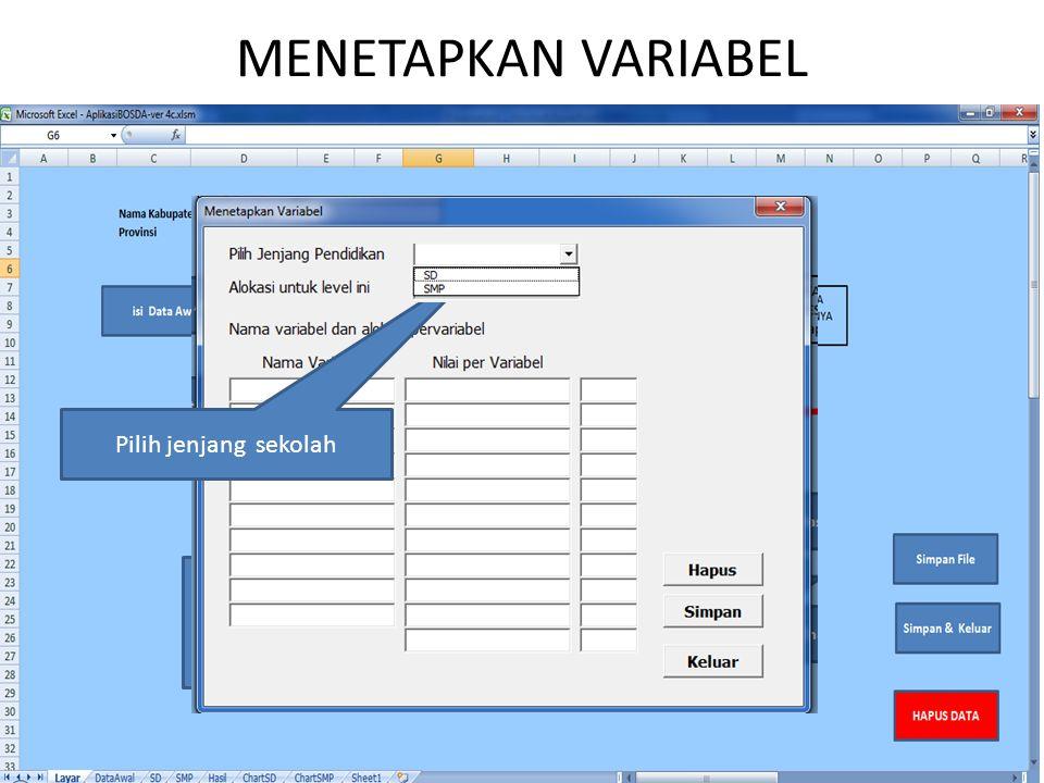 Klik 'Menetapkan Variabel' untuk masing-masing jenjang