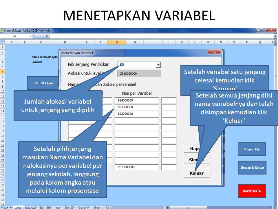MENETAPKAN VARIABEL Setelah variabel satu jenjang selesai kemudian klik 'Simpan' Jumlah alokasi variabel untuk jenjang yang dipilih.