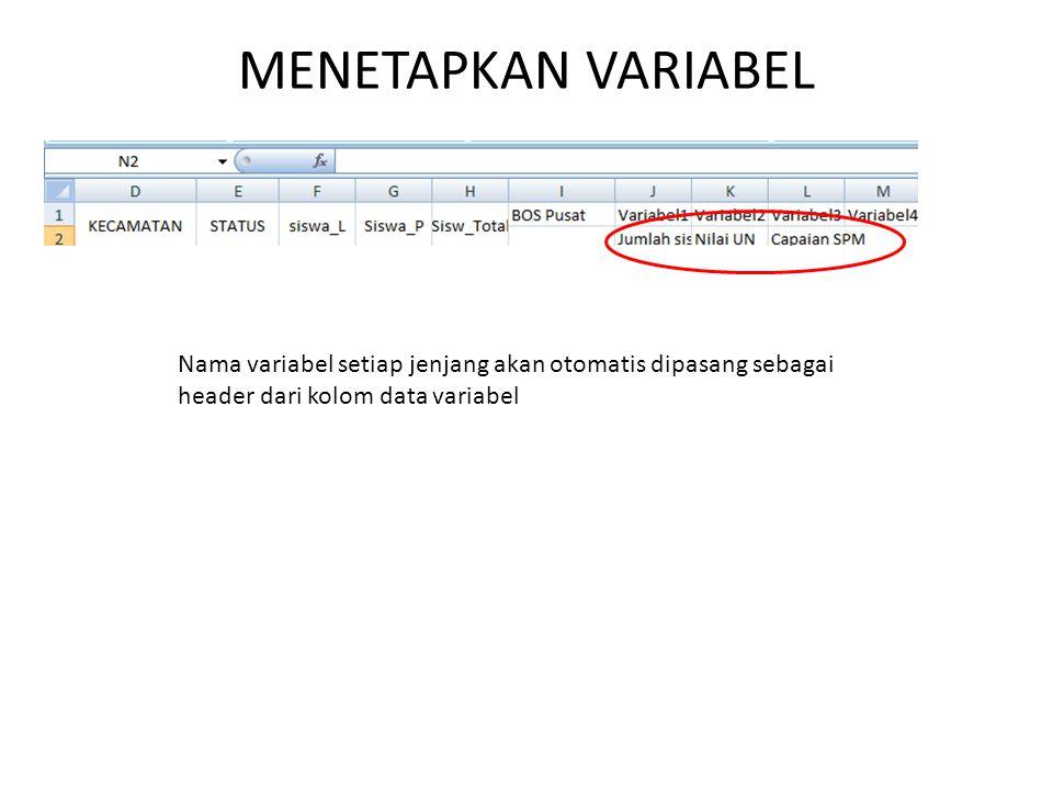 MENETAPKAN VARIABEL Nama variabel setiap jenjang akan otomatis dipasang sebagai header dari kolom data variabel.