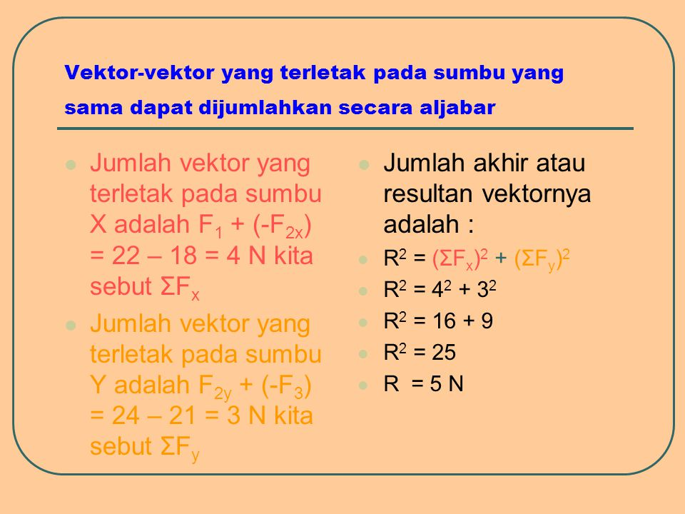 Jumlah akhir atau resultan vektornya adalah :