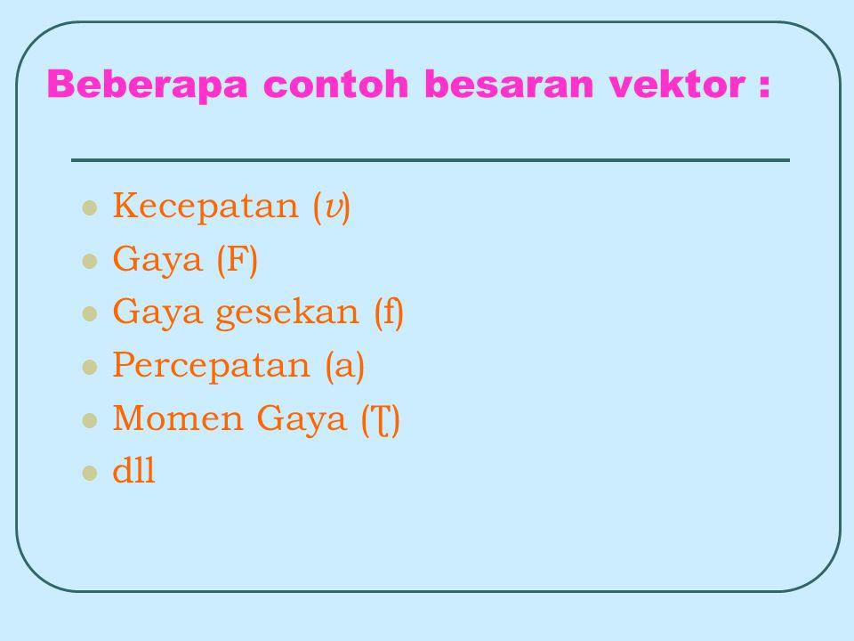 Beberapa contoh besaran vektor :