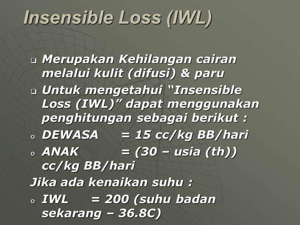 Insensible Loss (IWL) Merupakan Kehilangan cairan melalui kulit (difusi) & paru.