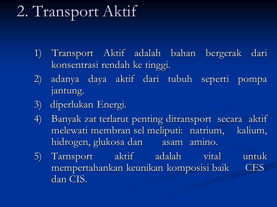 2. Transport Aktif 1) Transport Aktif adalah bahan bergerak dari konsentrasi rendah ke tinggi.