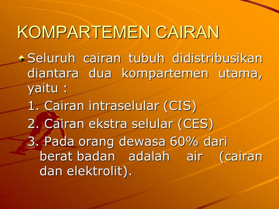 KOMPARTEMEN CAIRAN Seluruh cairan tubuh didistribusikan diantara dua kompartemen utama, yaitu : 1. Cairan intraselular (CIS)