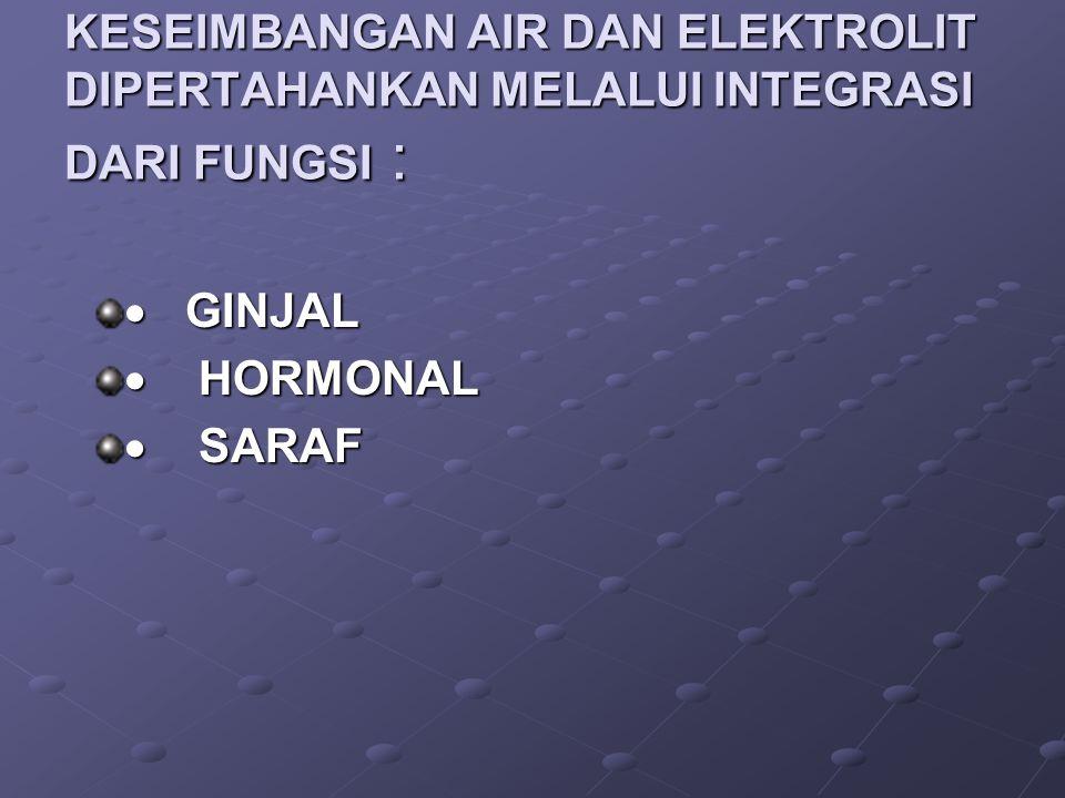 KESEIMBANGAN AIR DAN ELEKTROLIT DIPERTAHANKAN MELALUI INTEGRASI DARI FUNGSI :