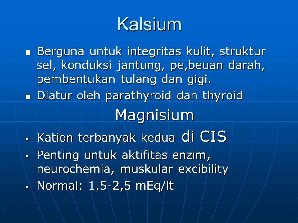 Kalsium Berguna untuk integritas kulit, struktur sel, konduksi jantung, pe,beuan darah, pembentukan tulang dan gigi.