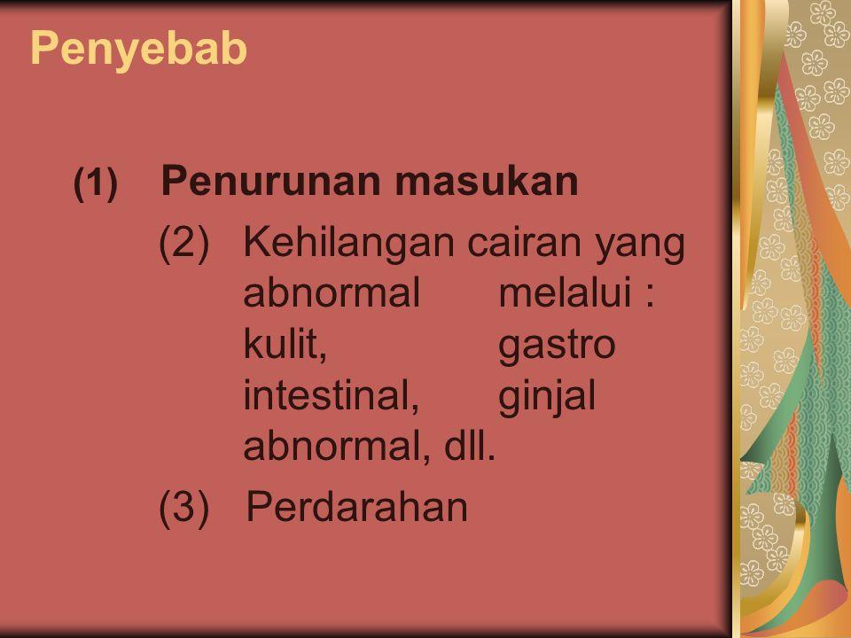 Penyebab (1) Penurunan masukan. (2) Kehilangan cairan yang abnormal melalui : kulit, gastro intestinal, ginjal abnormal, dll.