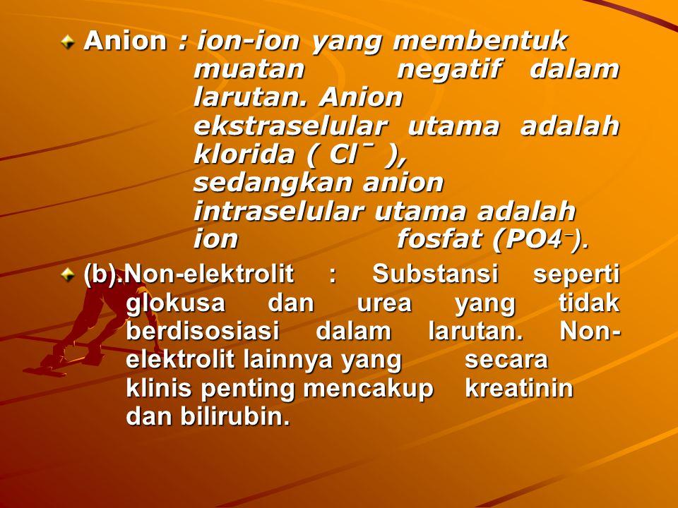 Anion : ion-ion yang membentuk. muatan. negatif dalam. larutan. Anion