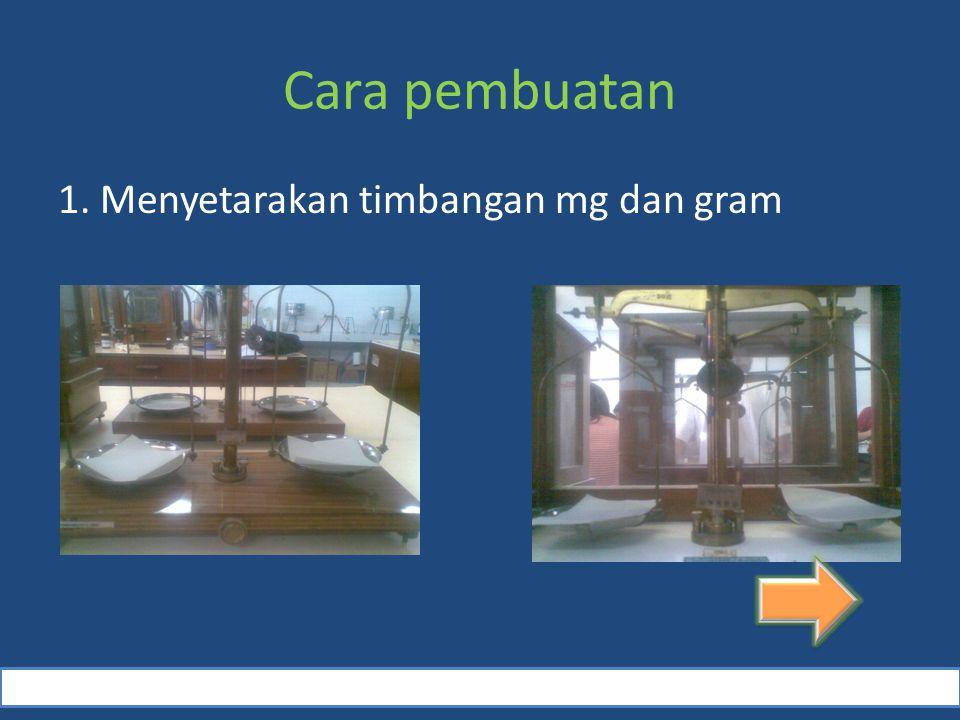 Cara pembuatan 1. Menyetarakan timbangan mg dan gram