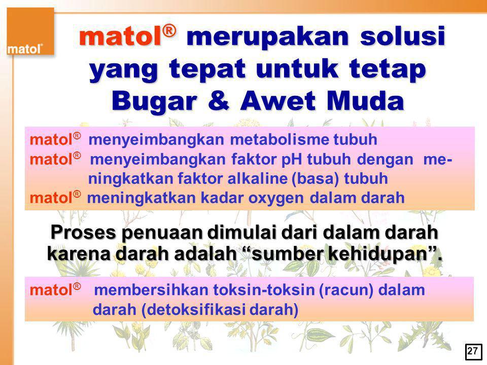 matol® merupakan solusi yang tepat untuk tetap Bugar & Awet Muda