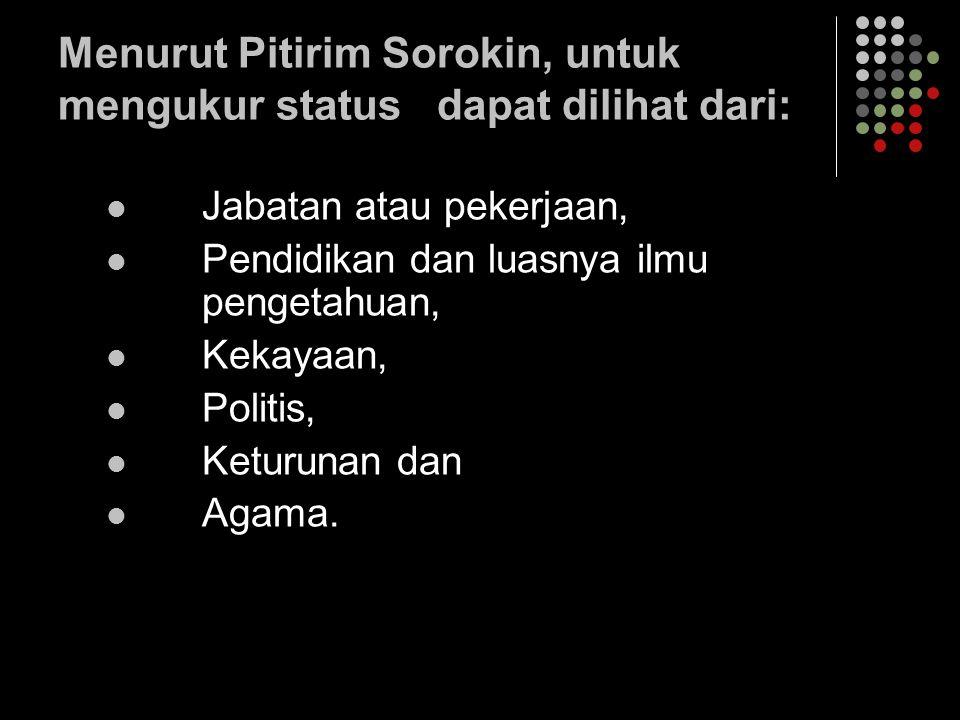 Menurut Pitirim Sorokin, untuk mengukur status dapat dilihat dari: