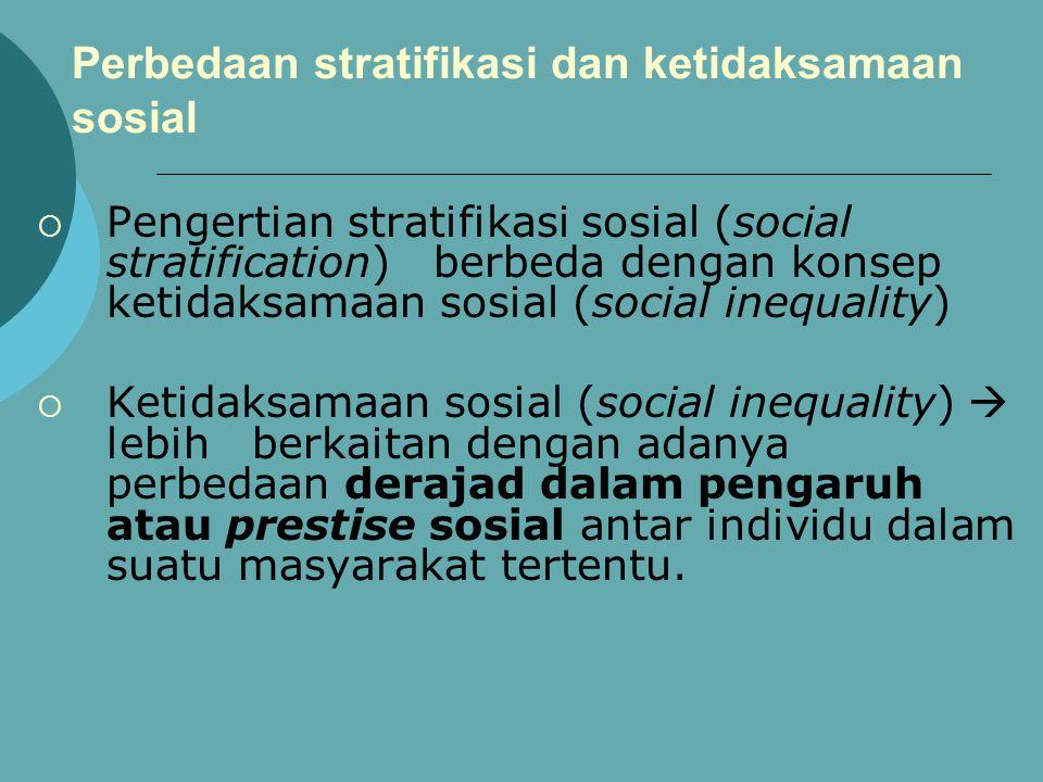Perbedaan stratifikasi dan ketidaksamaan sosial