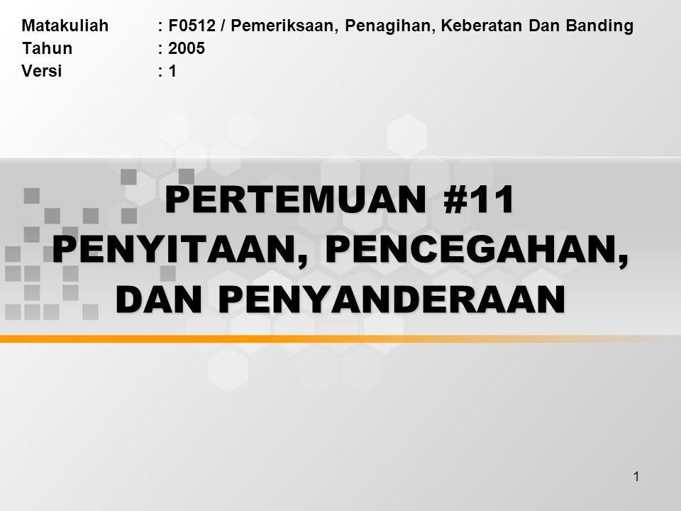 PERTEMUAN #11 PENYITAAN, PENCEGAHAN, DAN PENYANDERAAN