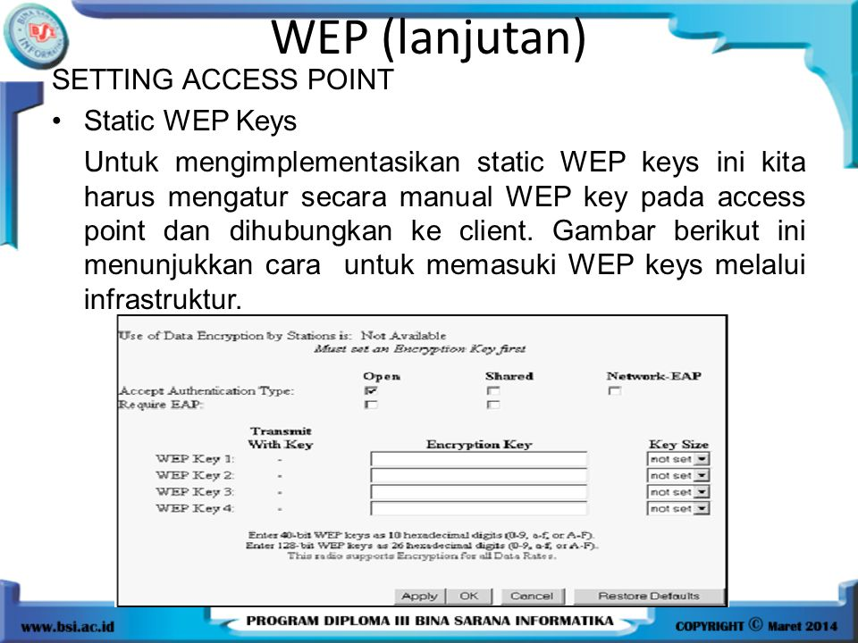 WEP (lanjutan) SETTING ACCESS POINT Static WEP Keys