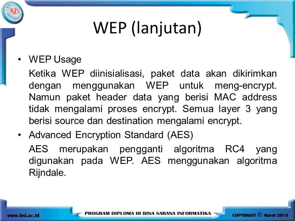 WEP (lanjutan) WEP Usage