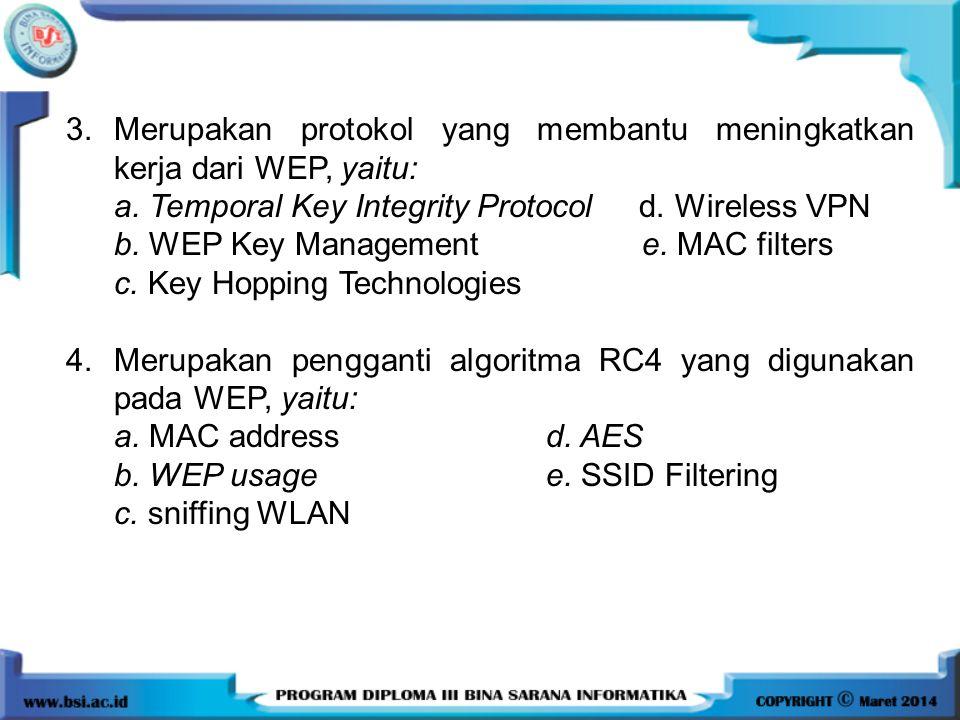 3. Merupakan protokol yang membantu meningkatkan kerja dari WEP, yaitu:
