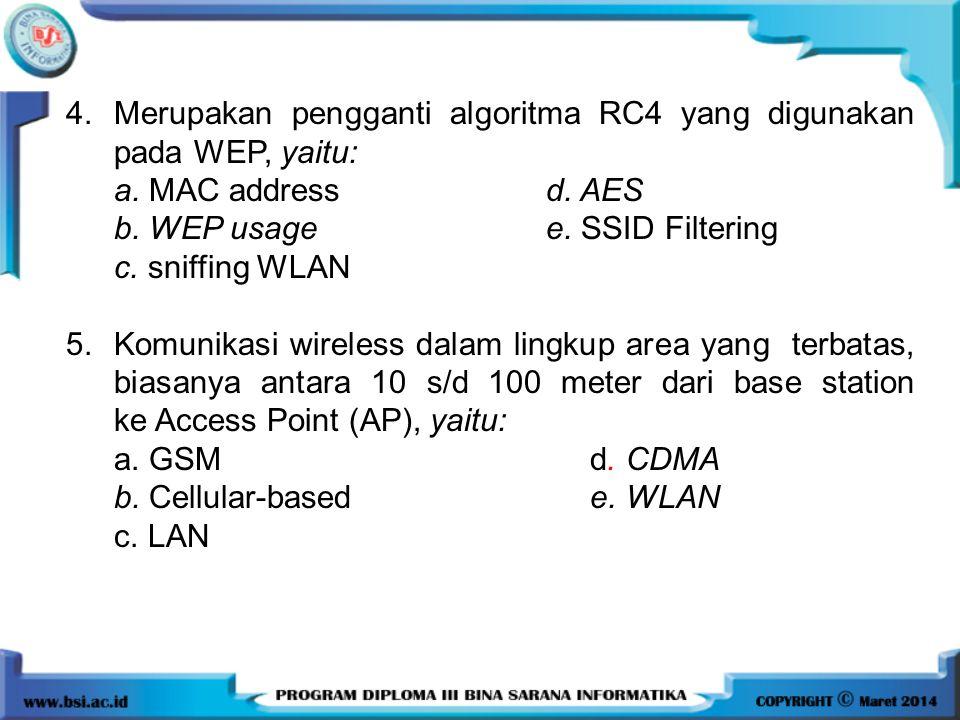 4. Merupakan pengganti algoritma RC4 yang digunakan pada WEP, yaitu: