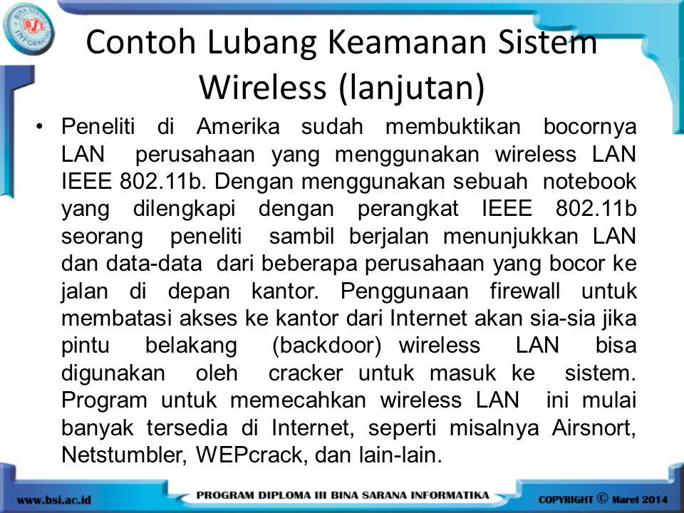Contoh Lubang Keamanan Sistem Wireless (lanjutan)