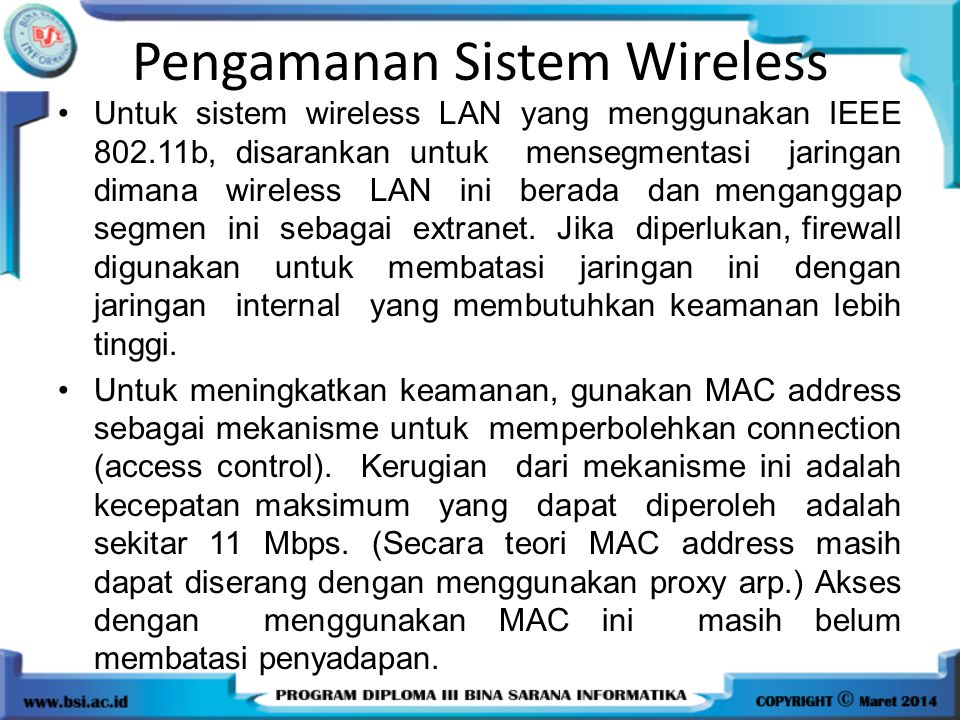 Pengamanan Sistem Wireless