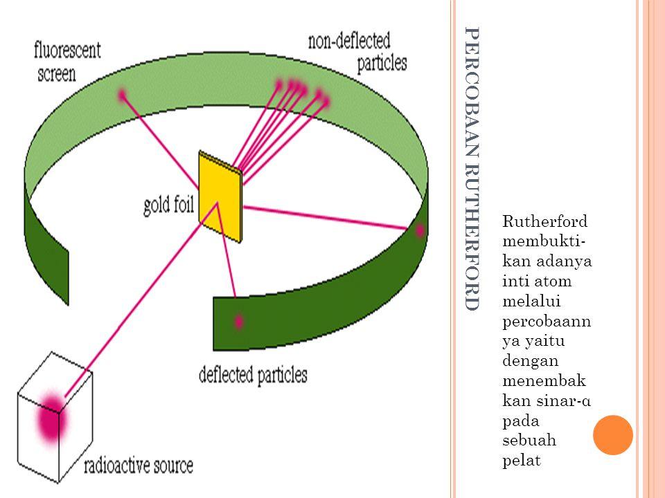Rutherford membukti- kan adanya inti atom melalui percobaann ya yaitu dengan menembak kan sinar-α pada sebuah pelat