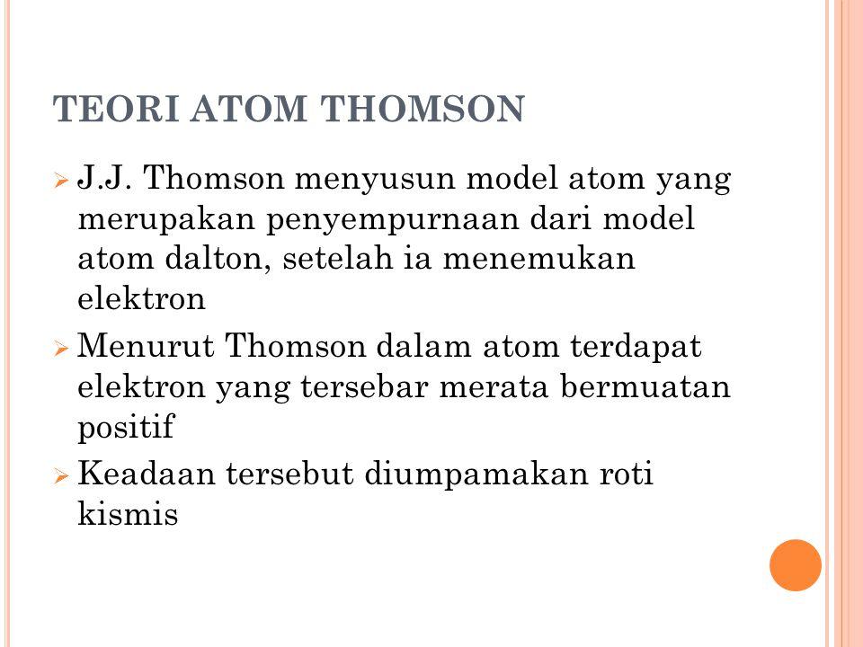 TEORI ATOM THOMSON J.J. Thomson menyusun model atom yang merupakan penyempurnaan dari model atom dalton, setelah ia menemukan elektron.