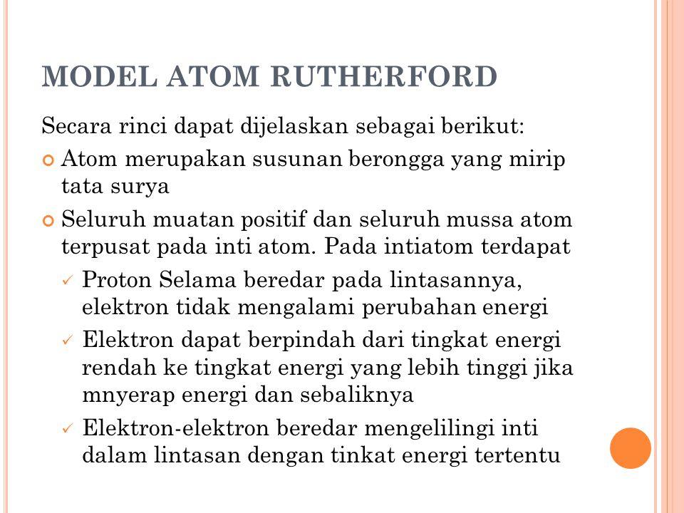 MODEL ATOM RUTHERFORD Secara rinci dapat dijelaskan sebagai berikut: